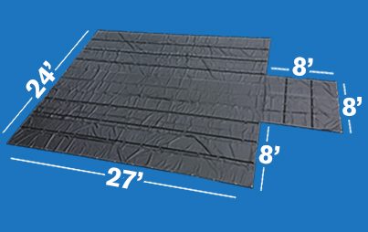 This Lumber Measures 27ft long, 24ft wide, with an 8ftx8ft flap. 8ft drops make it suited for tall, stacked loads.