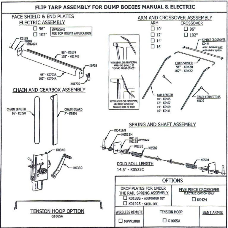 "Mountain K616DM Manual Underbody Mount Tarp System for Dump Bodies 96"" wide, 25 - 28 long"