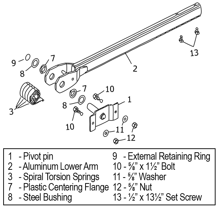 Diagram of lower tarp system arms and spiral springs mounting on pivot pin