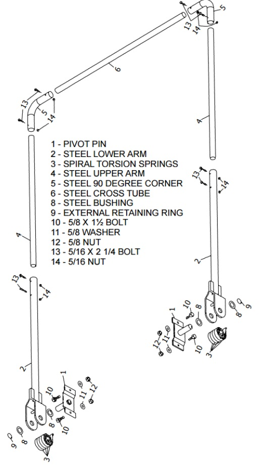 4 Spring Steel Arm Kit (Pin to Pin) - Steel Tarp Bow and Pivot Pin Sets for widths up to 95""