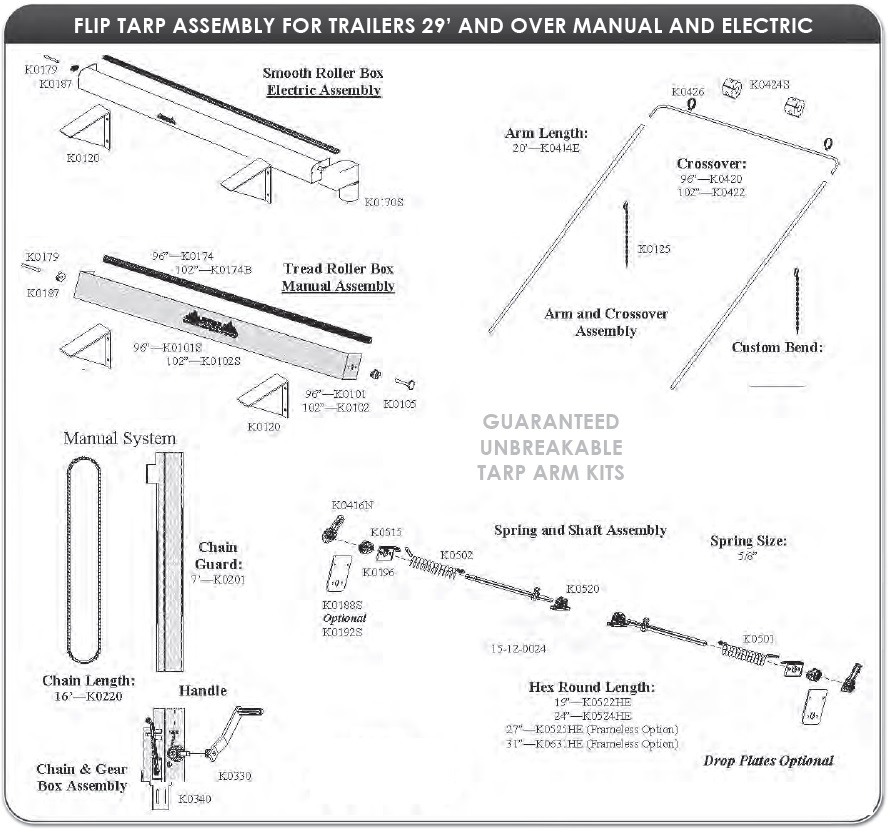 Mountain K620TE Electric Underbody Mount Tarp System for Dump Trailers 96 wide, 29' - 36' long