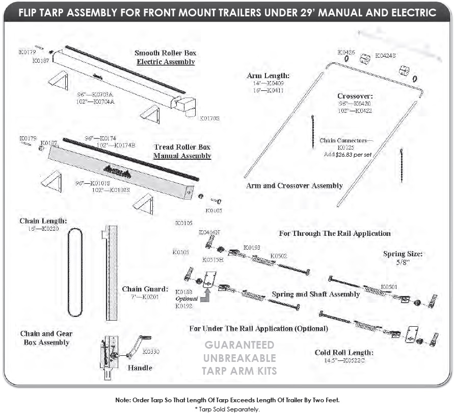 "Mountain K016TM Manual Front Mount Tarp System for Dump Trailers 102"" wide, 25 - 28 long"