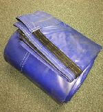 18oz Blue Vinyl Side Roll Replacement Tarp for Containers 124 wide, 32' long - includes 5 hold assemblies, Clearance